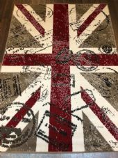 Modern Approx 6x4FT 120x170cm Woven Backed Union Jack Stamped Design rugs Beige
